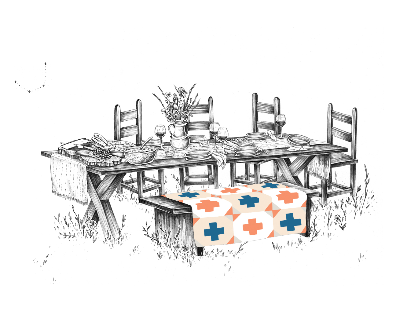 Table with a colored pattern