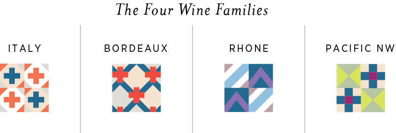 The four canasfeast wine families with their icons